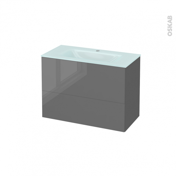 Meuble de salle de bains - Plan vasque EGEE - STECIA Gris - 2 tiroirs - Côtés décors - L80,5 x H58,2 x P40,5 cm