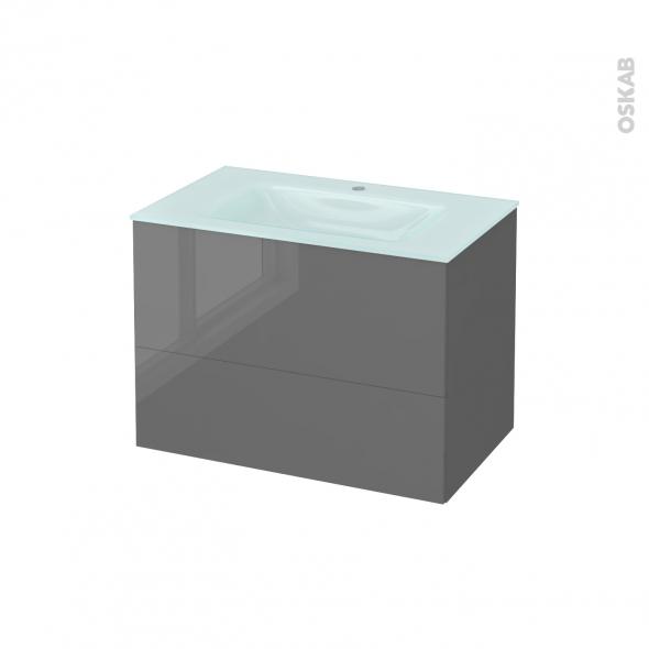 Meuble de salle de bains - Plan vasque EGEE - STECIA Gris - 2 tiroirs - Côtés décors - L80,5 x H58,2 x P50,5 cm