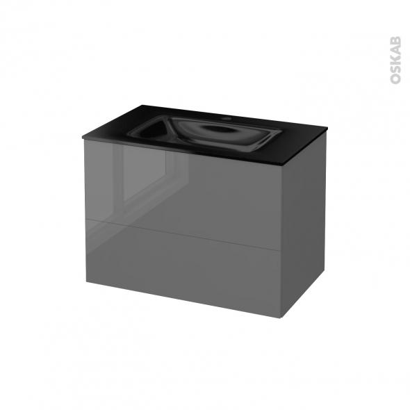 STECIA Gris - Meuble salle de bains N°632 - Vasque OCCE - 2 tiroirs  - L80,5xH58,2xP50,5