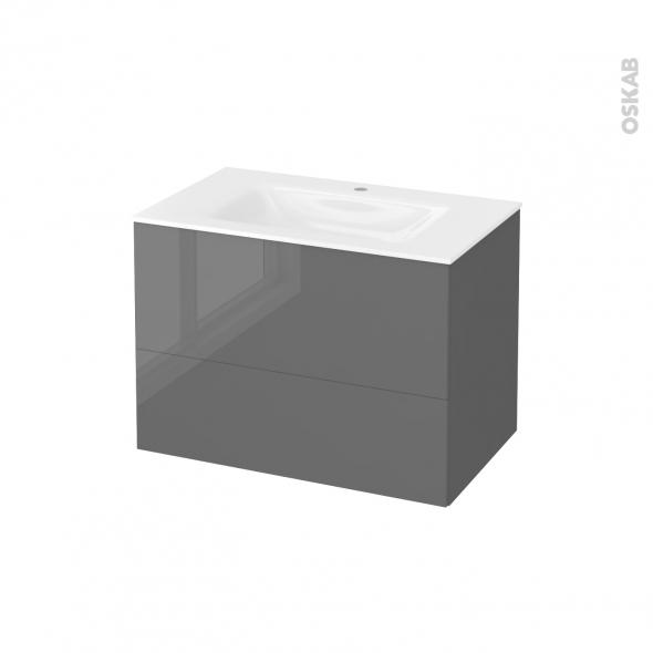 STECIA Gris - Meuble salle de bains N°632 - Vasque VALA - 2 tiroirs  - L80,5xH58,2xP50,5