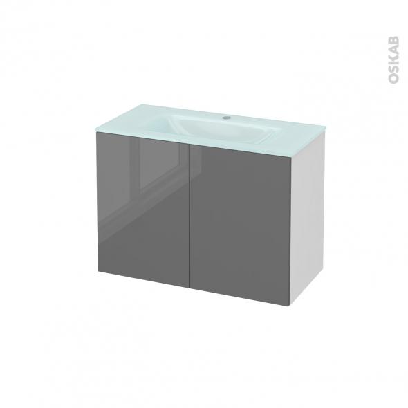 Meuble de salle de bains - Plan vasque EGEE - STECIA Gris - 2 portes - Côtés blancs - L80,5 x H58,2 x P40,5 cm