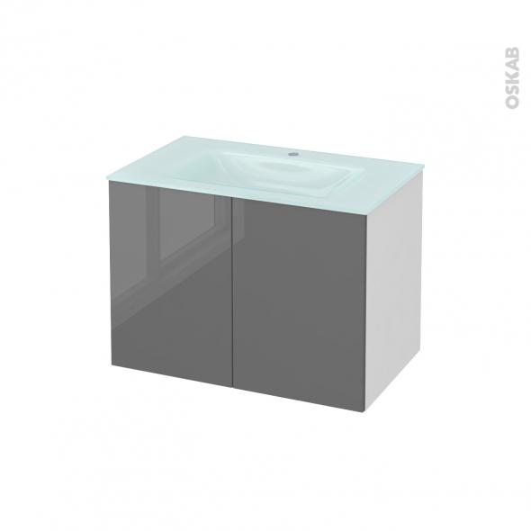 Meuble de salle de bains - Plan vasque EGEE - STECIA Gris - 2 portes - Côtés blancs - L80,5 x H58,2 x P50,5 cm