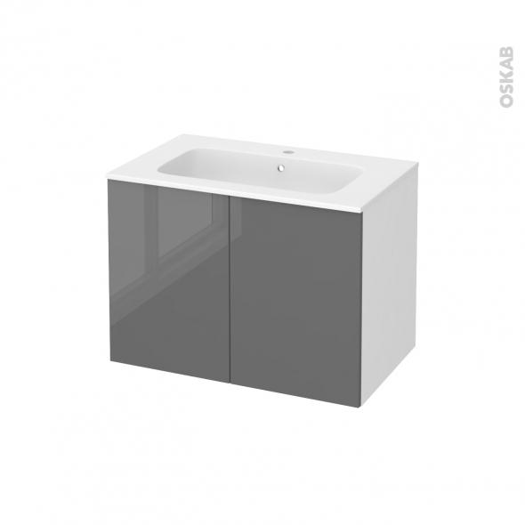 Meuble de salle de bains - Plan vasque REZO - STECIA Gris - 2 portes - Côtés blancs - L80,5 x H58,5 x P50,5 cm
