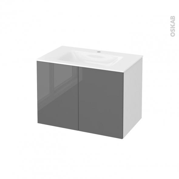Meuble de salle de bains - Plan vasque VALA - STECIA Gris - 2 portes - Côtés blancs - L80,5 x H58,2 x P50,5 cm