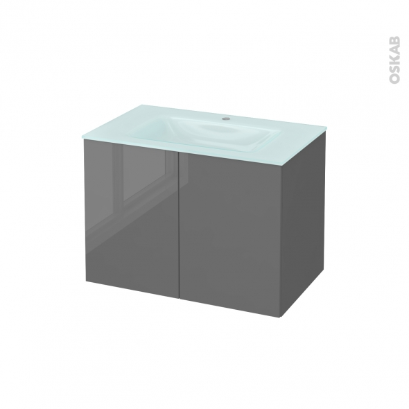 STECIA Gris - Meuble salle de bains N°642 - Vasque EGEE - 2 portes  - L80,5xH58,2xP50,5