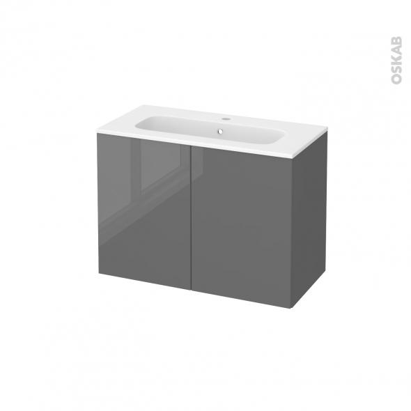 Meuble de salle de bains - Plan vasque REZO - STECIA Gris - 2 portes - Côtés décors - L80,5 x H58,5 x P40,5 cm