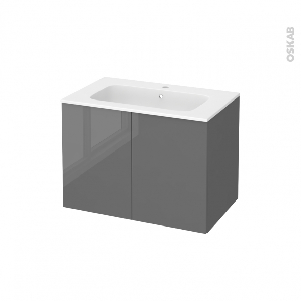 Meuble de salle de bains - Plan vasque REZO - STECIA Gris - 2 portes - Côtés décors - L80,5 x H58,5 x P50,5 cm