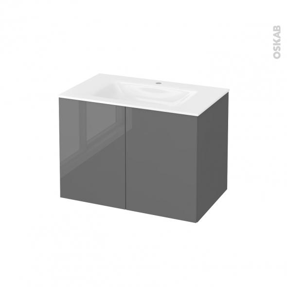 Meuble de salle de bains - Plan vasque VALA - STECIA Gris - 2 portes - Côtés décors - L80,5 x H58,2 x P50,5 cm
