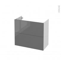 Meuble de salle de bains - Sous vasque - STECIA Gris - 2 tiroirs - Côtés blancs - L80 x H70 x P40 cm