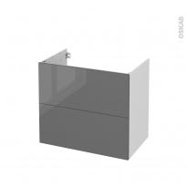 Meuble de salle de bains - Sous vasque - STECIA Gris - 2 tiroirs - Côtés blancs - L80 x H70 x P50 cm