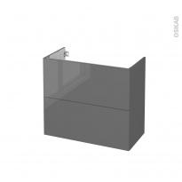 Meuble de salle de bains - Sous vasque - STECIA Gris - 2 tiroirs - Côtés décors - L80 x H70 x P40 cm