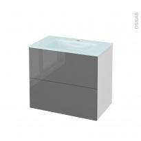 Meuble de salle de bains - Plan vasque EGEE - STECIA Gris - 2 tiroirs - Côtés blancs - L80,5 x H71,2 x P50,5 cm