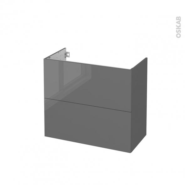 STECIA Gris - Meuble sous vasque N°602 - Côté décor - 2 tiroirs prof.40 - L80xH70xP40