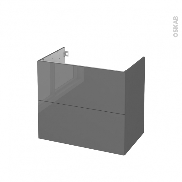 Meuble de salle de bains - Sous vasque - STECIA Gris - 2 tiroirs - Côtés décors - L80 x H70 x P50 cm