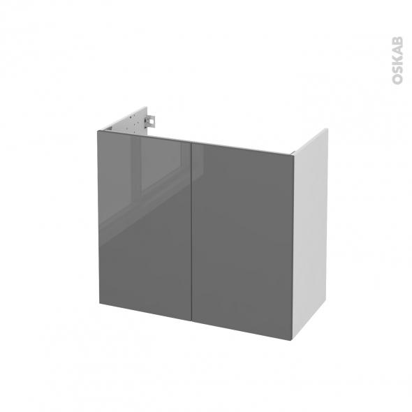 Meuble de salle de bains - Sous vasque - STECIA Gris - 2 portes - Côtés blancs - L80 x H70 x P40 cm