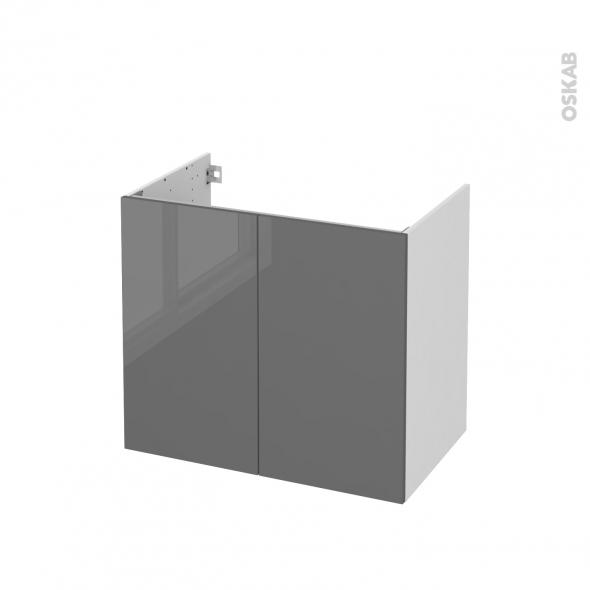 Meuble de salle de bains - Sous vasque - STECIA Gris - 2 portes - Côtés blancs - L80 x H70 x P50 cm