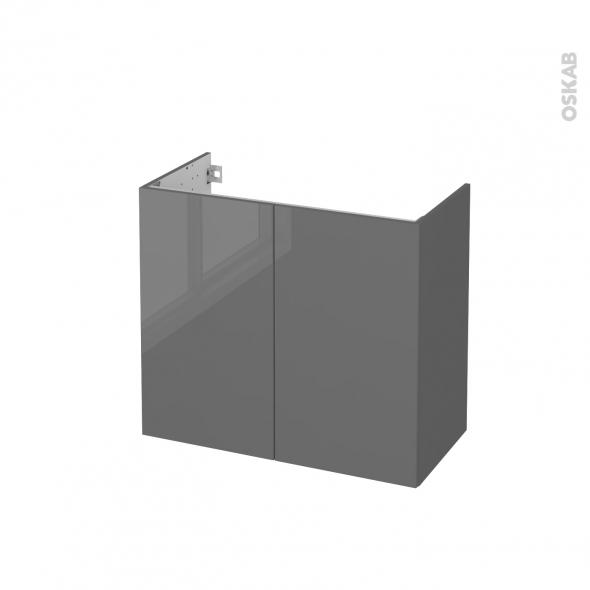 STECIA Gris - Meuble sous vasque N°702 - Côté décor - 2 portes prof.40 - L80xH70xP40