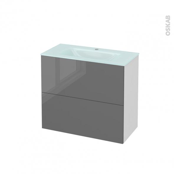 STECIA Gris - Meuble salle de bains N°601 - Vasque EGEE - 2 tiroirs Prof.40 - L80,5xH71,2xP40,5