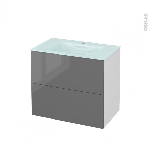 STECIA Gris - Meuble salle de bains N°601 - Vasque EGEE - 2 tiroirs  - L80,5xH71,2xP50,5
