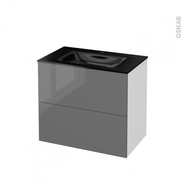 STECIA Gris - Meuble salle de bains N°601 - Vasque OCCE - 2 tiroirs  - L80,5xH71,2xP50,5