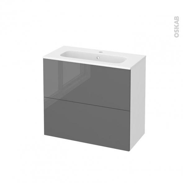 Meuble de salle de bains - Plan vasque REZO - STECIA Gris - 2 tiroirs - Côtés blancs - L80,5 x H71,5 x P40,5 cm
