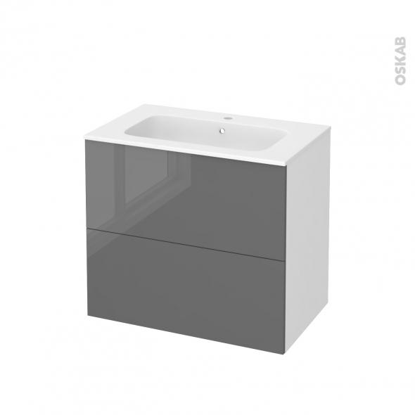 Meuble de salle de bains - Plan vasque REZO - STECIA Gris - 2 tiroirs - Côtés blancs - L80,5 x H71,5 x P50,5 cm