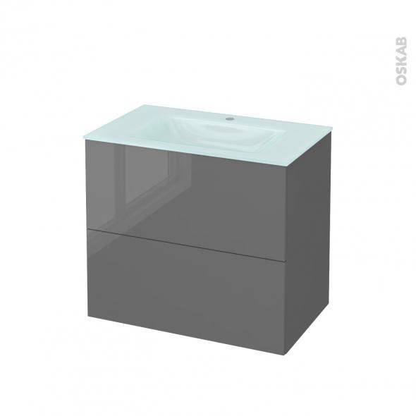 STECIA Gris - Meuble salle de bains N°602 - Vasque EGEE - 2 tiroirs  - L80,5xH71,2xP50,5