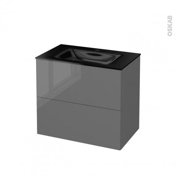 STECIA Gris - Meuble salle de bains N°602 - Vasque OCCE - 2 tiroirs  - L80,5xH71,2xP50,5