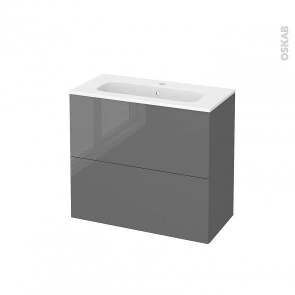 Meuble de salle de bains - Plan vasque REZO - STECIA Gris - 2 tiroirs - Côtés décors - L80,5 x H71,5 x P40,5 cm