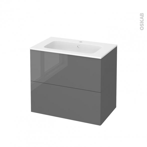 Meuble de salle de bains - Plan vasque REZO - STECIA Gris - 2 tiroirs - Côtés décors - L80,5 x H71,5 x P50,5 cm