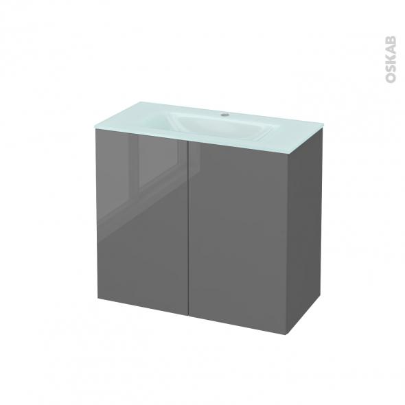 Meuble de salle de bains - Plan vasque EGEE - STECIA Gris - 2 portes - Côtés décors - L80,5 x H71,2 x P40,5 cm