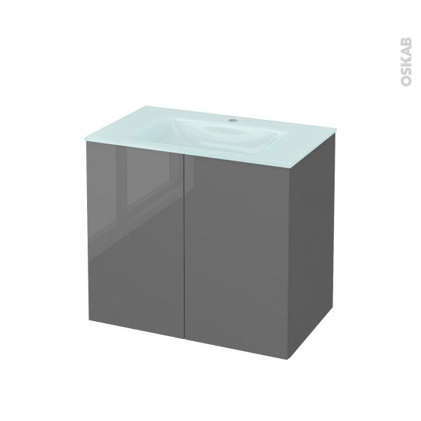 STECIA Gris - Meuble salle de bains N°702 - Vasque EGEE - 2 portes  - L80,5xH71,2xP50,5