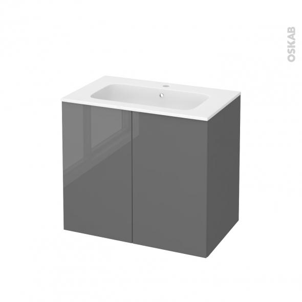 Meuble de salle de bains - Plan vasque REZO - STECIA Gris - 2 portes - Côtés décors - L80,5 x H71,5 x P50,5 cm