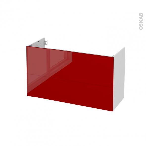 Meuble de salle de bains - Sous vasque - STECIA Rouge - 2 tiroirs - Côtés blancs - L100 x H57 x P40 cm