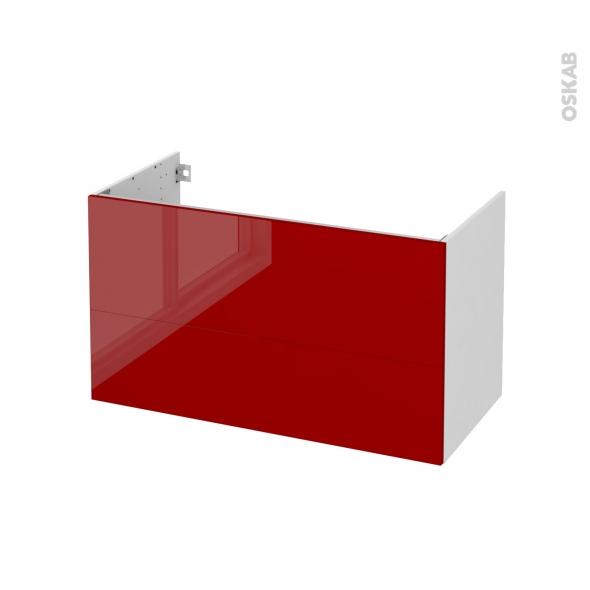 Meuble de salle de bains - Sous vasque - STECIA Rouge - 2 tiroirs - Côtés blancs - L100 x H57 x P50 cm