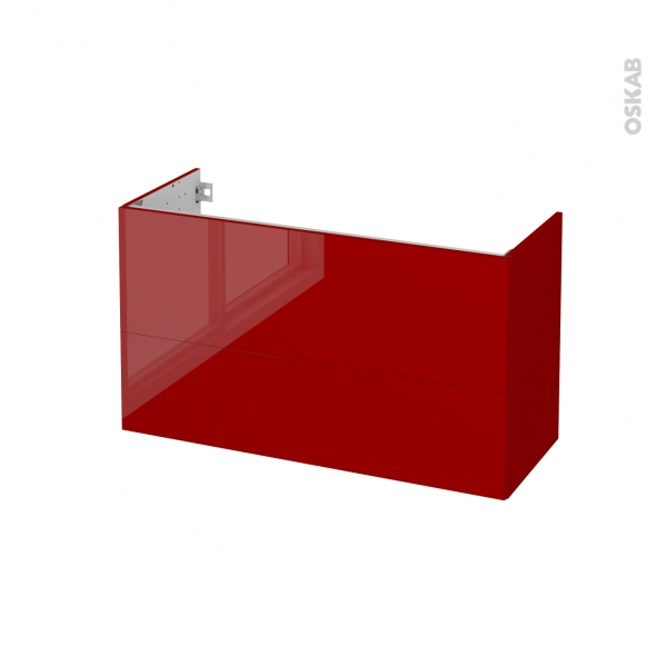 Meuble de salle de bains - Sous vasque - STECIA Rouge - 2 tiroirs - Côtés décors - L100 x H57 x P40 cm