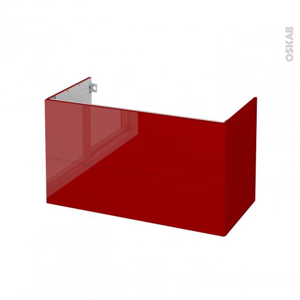 STECIA Rouge - Meuble sous vasque N°652 - Côté décor - 2 tiroirs - L100xH57xP50