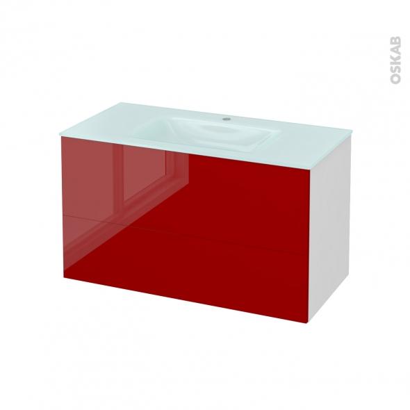 Meuble de salle de bains - Plan vasque EGEE - STECIA Rouge - 2 tiroirs - Côtés blancs - L100,5 x H58,2 x P50,5 cm