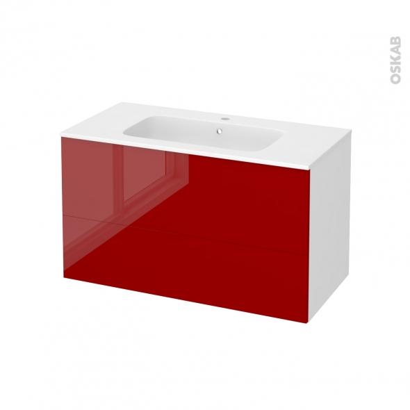 Meuble de salle de bains - Plan vasque REZO - STECIA Rouge - 2 tiroirs - Côtés blancs - L100,5 x H58,5 x P50,5 cm