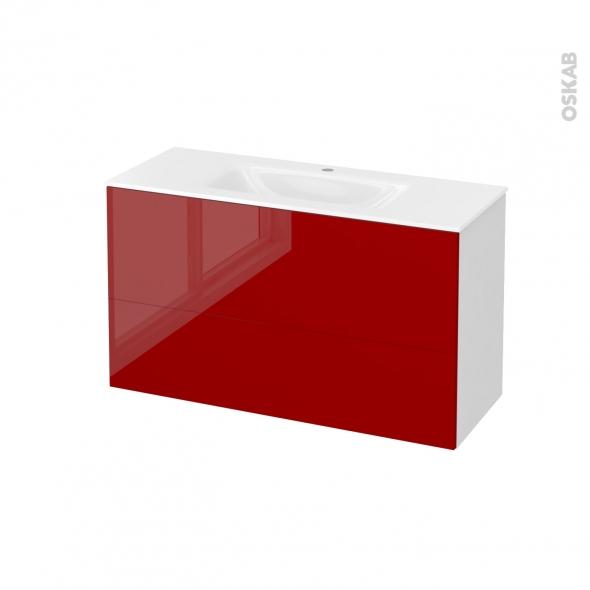 Meuble de salle de bains - Plan vasque VALA - STECIA Rouge - 2 tiroirs - Côtés blancs - L100,5 x H58,2 x P40,5 cm
