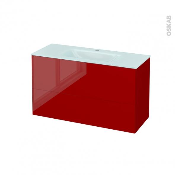 Meuble de salle de bains - Plan vasque EGEE - STECIA Rouge - 2 tiroirs - Côtés décors - L100,5 x H58,2 x P40,5 cm