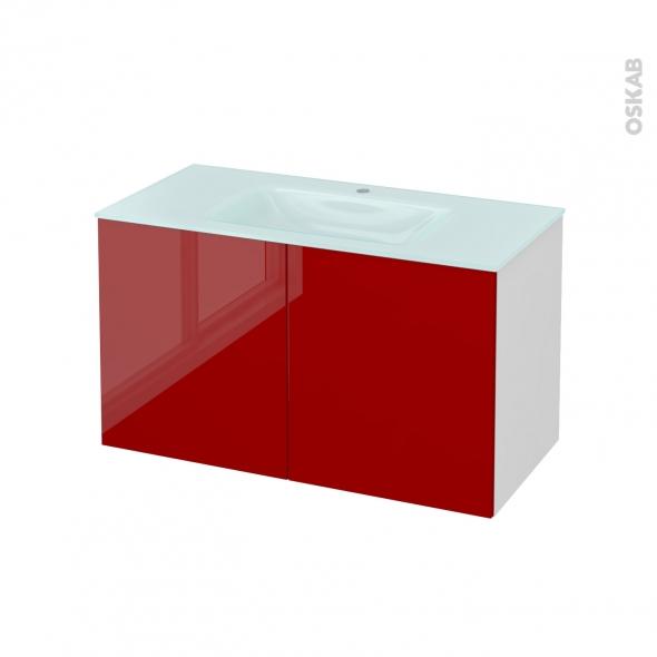 STECIA Rouge - Meuble salle de bains N°661 - Vasque EGEE - 2 portes  - L100,5xH58,2xP50,5