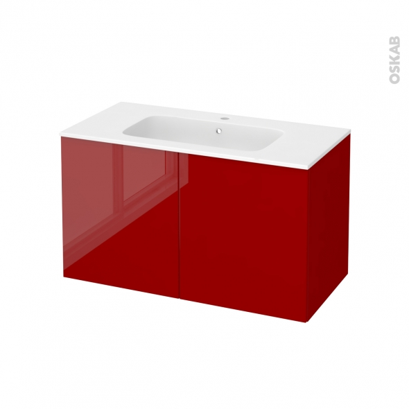 Meuble de salle de bains - Plan vasque REZO - STECIA Rouge - 2 portes - Côtés décors - L100,5 x H58,5 x P50,5 cm