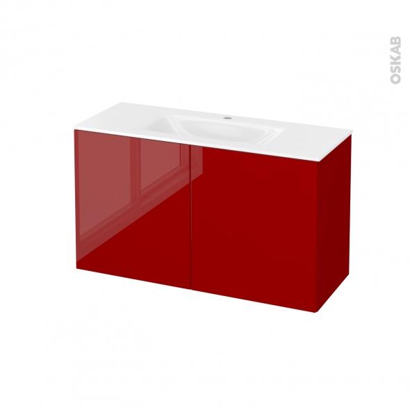 Meuble de salle de bains - Plan vasque VALA - STECIA Rouge - 2 portes - Côtés décors - L100,5 x H58,2 x P40,5 cm