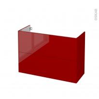 Meuble de salle de bains - Sous vasque - STECIA Rouge - 2 tiroirs - Côtés décors - L100 x H70 x P40 cm