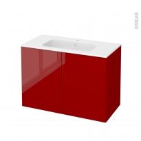 Meuble de salle de bains - Plan vasque REZO - STECIA Rouge - 2 portes - Côtés décors - L100,5 x H71,5 x P50,5 cm
