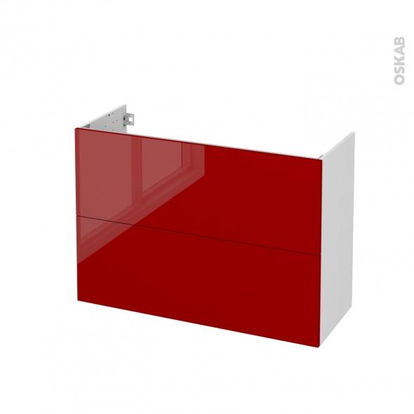Meuble de salle de bains - Sous vasque - STECIA Rouge - 2 tiroirs - Côtés blancs - L100 x H70 x P40 cm