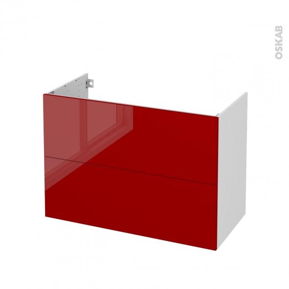 STECIA Rouge - Meuble sous vasque N°611 - Côté blanc - 2 tiroirs - L100xH70xP50