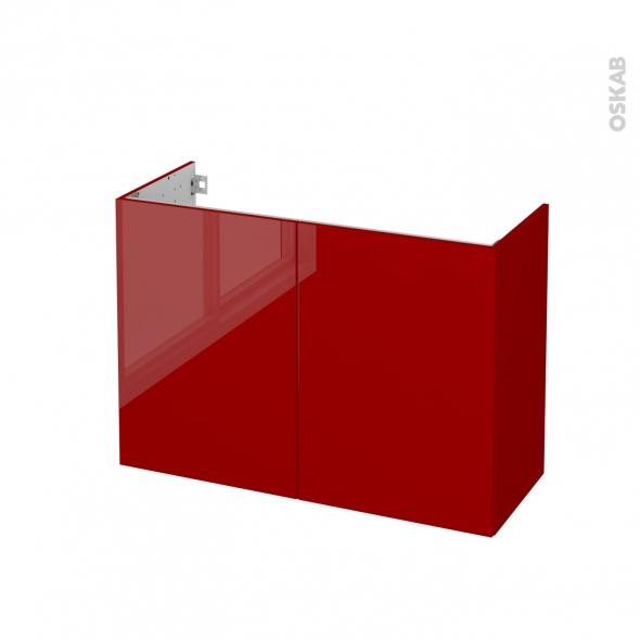 Meuble de salle de bains - Sous vasque - STECIA Rouge - 2 portes - Côtés décors - L100 x H70 x P40 cm