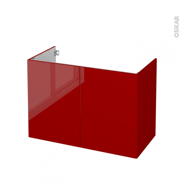 Meuble de salle de bains - Sous vasque - STECIA Rouge - 2 portes - Côtés décors - L100 x H70 x P50 cm
